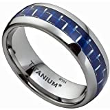 Titanium Ring - Blue Carbon Inlay Mens Titanium Wedding Engagement Band Ring- Size P - Comes In A Luxury Gift Box - (Available In Most Sizes)