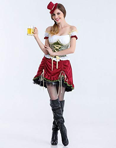 MBEN Bayerische Kurzarm Kellnerin, Deutsches Bierfest Kostüm Für Damen Kellnerin Cosplay Halloween Oktoberfest Biermädchen Kleines Kostüm,Short,XL