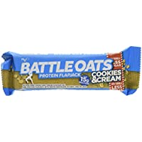 Battle Oats High Protein Gluten Free Flapjacks Protein Bar, Cookies & Cream, 12 x 70g
