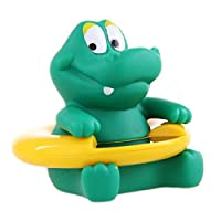 Baby Bath Thermometer Cute Soft Crocodile Shape Animal Floating Infant Tub and Swimming Pool Thermometer Temperature Tester Toy for Baby Green