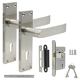 Probrico Victorian Lever Lock Internal Door Handle on Backplate 154mm X 40mm - Brushed Nickel