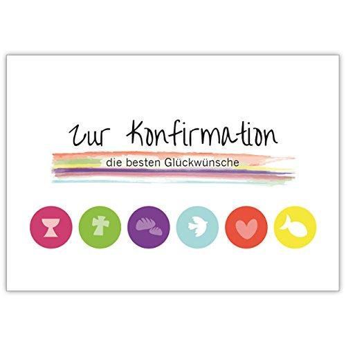 """Moderne Grusskarte mit christlichen Symbolen in Regenbogen Farben""""Zur Konfirmation die besten Glückwünsche"""""""