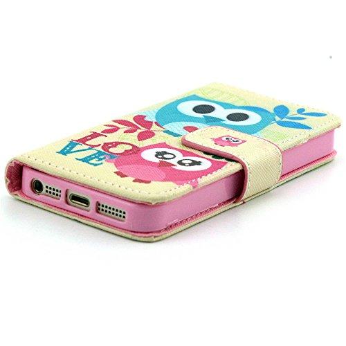 iPhone 5S Coque,PU Cuir Portefeuille Coque Flip Cover Case Pour iPhone 5/5S Etui Housse de Protection Étui Protecteur (Vagues souriantes) Chouette Couples
