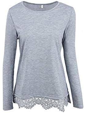 Mujeres Manga Larga Lace Patchwork Camiseta Jersey Tops