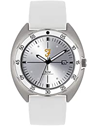 Farah - Reloj Deportivo con Esfera Plateada y Correa de Silicona Blanca