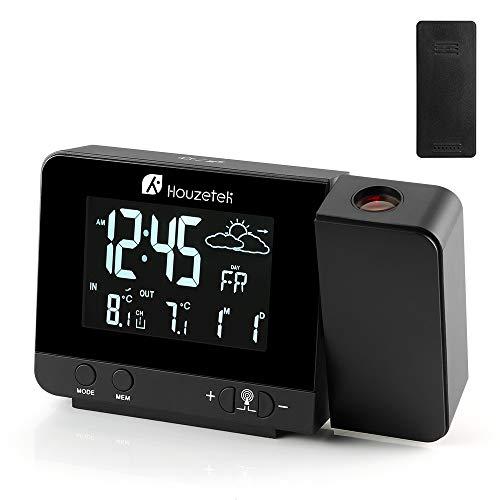 Orologio con Proiezione, Houzetek sveglia digitale LED con Schermo LCD a Display Temperatura e Data e Previsioni del Tempo con Luce Regolabile, Funzione di Snooze e Doppio Allarme e 12/24 Ora