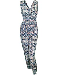 Mevina Damen Jumpsuit Harem Overall Einteiler Paisley Gipsy Hippie Retro Print Muster Urlaubs Top