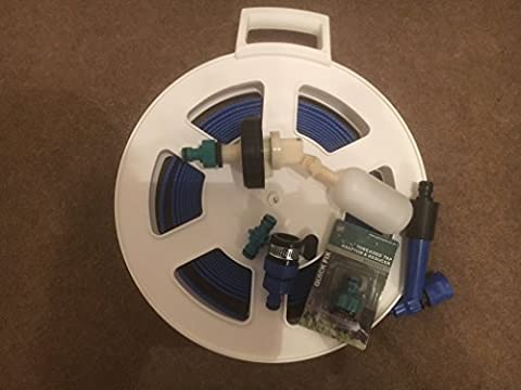 Suitable for Aquaroll Mains Water Adaptor Ball Valve Kit with Space Saving 10 mtr FLAT Food Grade Hose on a Reel / Cassette by Care-avan
