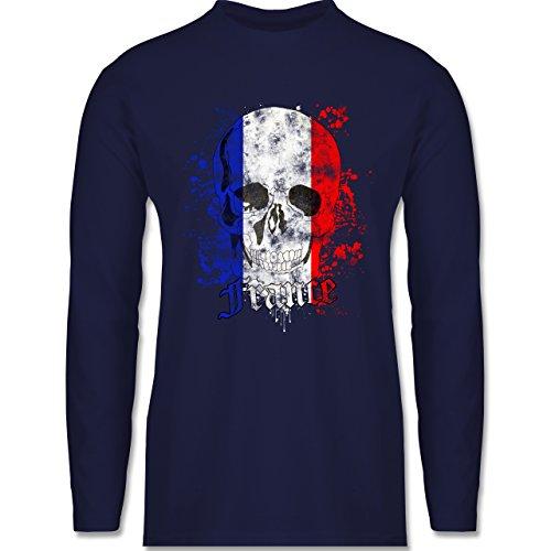 Shirtracer Fußball-WM 2018 - Russland - France Schädel Vintage - Herren Langarmshirt Navy Blau