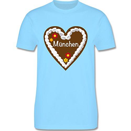 Oktoberfest Herren - Lebkuchenherz München - Herren Premium T-Shirt Hellblau