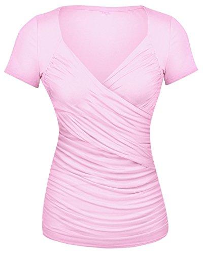 GAMISS Damen Causal T Shirts Sexy V Ausschnitt Blusen Rüschen Wickel Kurzarm Top-Rosa-S