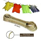 #6: Dewberries 20 Meter PVC Coated Steel Anti-Rust Wire Rope Washing Line Clothesline with 2 Plastic Hooks for for Drying/Hanging Clothes (Pack of 2 Color May Vary)