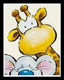 Bild mit Rahmen Jean Paul Courtsey - Funny Friends I - Holz schwarz, 40 x 50cm - Premiumqualität - Kinderwelten, Comic, Maus, Giraffe, Kinderzimmer, Kindergarten, Hort - MADE IN GERMANY - ART-GALERIE-SHOPde