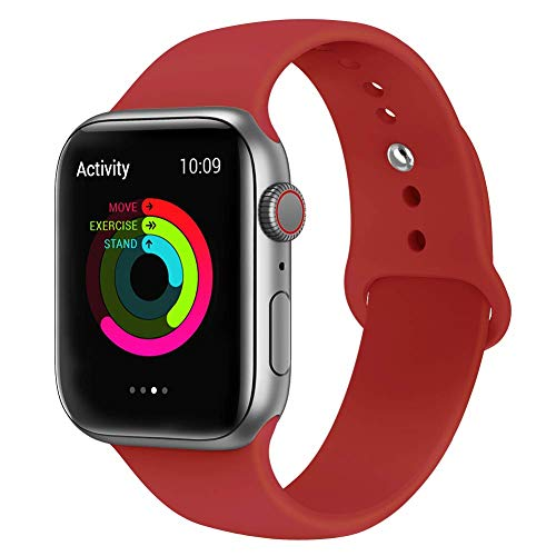 VIKATech Correa de Repuesto Compatible con Apple Watch de 44 mm 42 mm, Correa de Silicona Suave de Repuesto para iWatch Series 4/3/2/1, S/M, Red