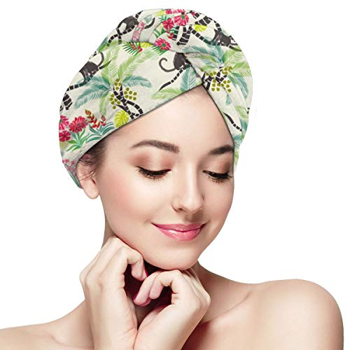 Funny Club Hair Drying Towel Tropical Monkeys Really Small Wraps for Women Shower Turban Microfiber Quick Magic Drying Wrapped Bath Cap