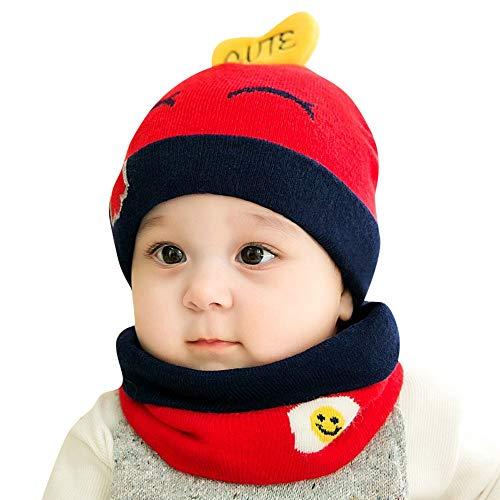 uBabamama_Hat Strickmütze für den Winter, warm, Cartoon-Design, gestrickt, mit niedlichem Lätzchen, für 0-12 Monate alte Babys, P, Einheitsgröße
