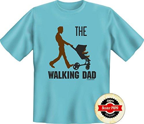Set regalo papà & Europa: T-Shirt (S-5x l) motivo a scelta + Button Miglior papà o coordinato Bester Opa WALKING DAD sky XXXXXL
