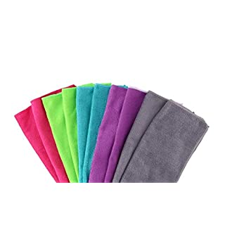 Invero 10 Piece Multi-Purpose Microfibre Dust Cleaning Drying Duster Washable Cloth Ideal for Polishing, Domestic Appliances, Cars, Windows, Bars, Offices and more