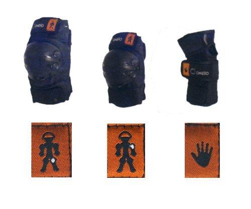 Kinder Skateboard Inliner Inlineskates Schützer in 3 Größen S XS und XXS Protektoren SET SCHWARZ 6 tlg. Arm,-Bein- und Ellenbogenschützer