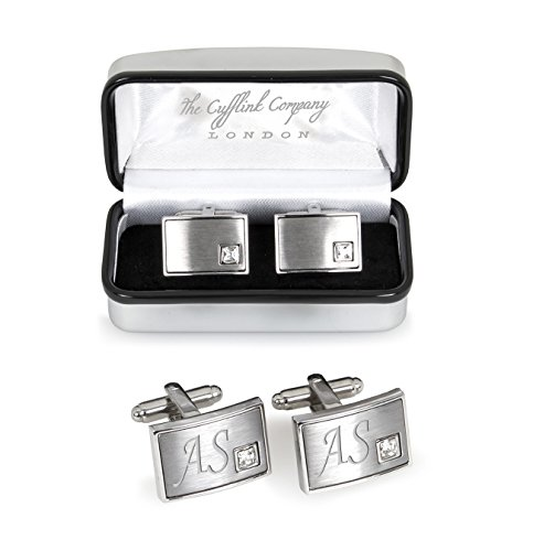 Personalised Crystal Cufflinks Packaged in Luxury Chrome Case - Engraved For You