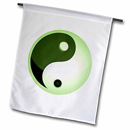 3dRose FL 101242_ 1Dark und Light Grün Yin und Yang Schild Garten Flagge, 12von 18