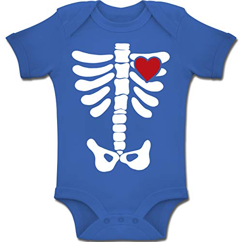 Shirtracer Anlässe Baby - Skelett Herz Halloween Kostüm - 1-3 Monate - Royalblau - BZ10 - Baby Body Kurzarm Jungen Mädchen (Ideen Halloween-kostüm Männer 2)