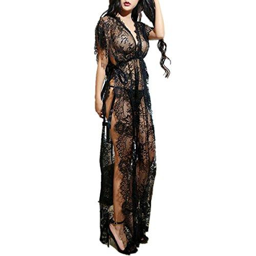 (YunYoud Dessous Set Damen Pyjama Frau Reizvoll Perspektive Unterwäsche Spitze Lange Kleid Puppe Nachtwäsche Lingerie + G-String 2 STÜCKE Sets (Sexy Schwarz, Freie Größe))
