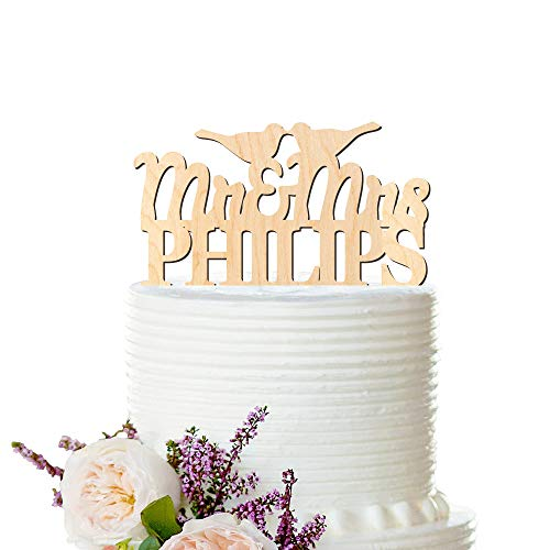Andrea1Oliver Holz Cake Topper Liebe V?Gel Hochzeit personalisierte Cake Topper Nachname Hochzeitstorte Topper Peachwik Cake Topper Holz Cake Topper -