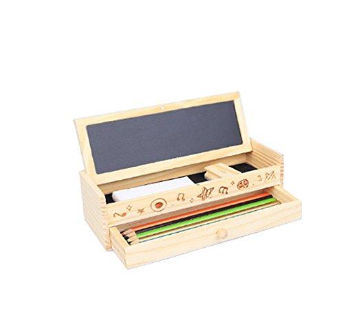 Outflower Multifunktional Holz Bleistift Fall Holz Schublade Bleistift Box für Studenten Kinder (Bleistift Box, Holz)
