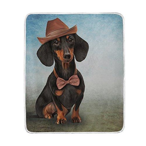 ALAZA Decke Hand Drawn Mr. Cap Hund in Home Pet Übergroße Überwurf Decken für Polyester-Couch Sofa-König Queen Size Betten Home Decor Zimmer Betten Steppdecke für Sofa, Polyester, Multi, 50x60