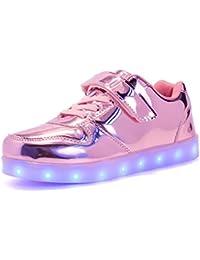 ByBetty zapatillas luces niños Niñas 7 Color USB Carga Deportivas De Luces Zapatillas Led