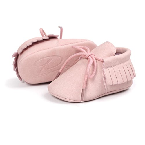 Igemy 1Paar Baby Krippe Troddel Bandage Soft Sohle Schuhe Kleinkind Turnschuhe Casual Schuhe Pink