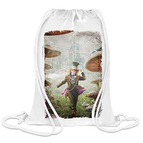 Alice im Wunderland 2 Der verrückte Hutmacher - Alice In Wonderland 2 The Mad Hatter Custom Printed Drawstring Sack | 100% Soft Polyester| 5 Liter Capacity| Adjustable String Closure| The ()