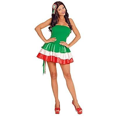 In costume e maglino, composto da poliestere rasetto vestito con sottoveste in TNT e transparente bretelle rimovibili, rosette con pettinino capelli. Tricolor Pom pon sono venduti separatamente.