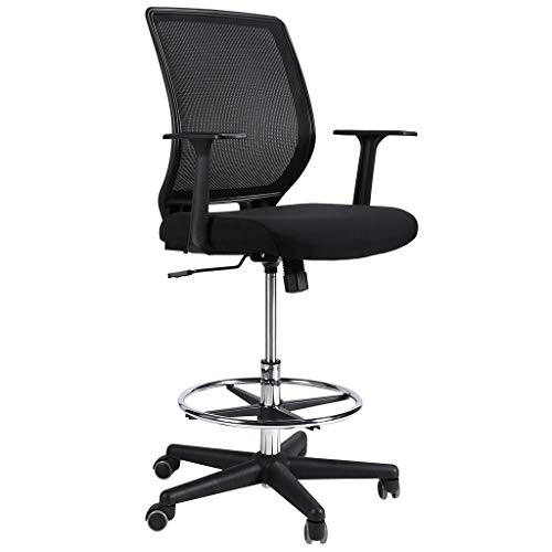 SLYPNOS Chaise de Bureau, Chaise à Roulette, Fauteuil de Bureau Ergonomique, Hauteur Réglable, Haut de Gamme en Maille, Roues en Nylon (Noir)