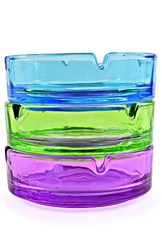 Aschenbecher aus Glas 1 Set 3 Farben 10,5 cm Durchmesser - 3 Stück (Set Glas-aschenbecher)