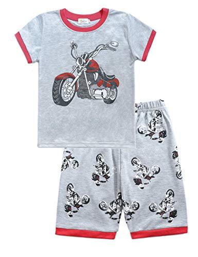 Little Hand Schlafanzug Jungen Dinosaurier Bagger Motorrad Flugzeug Kinder Sommer Zweiteiliger Baumwolle Kurz Nachtwäsche, Motorrad, 122 (HerstellerGröße: 140)