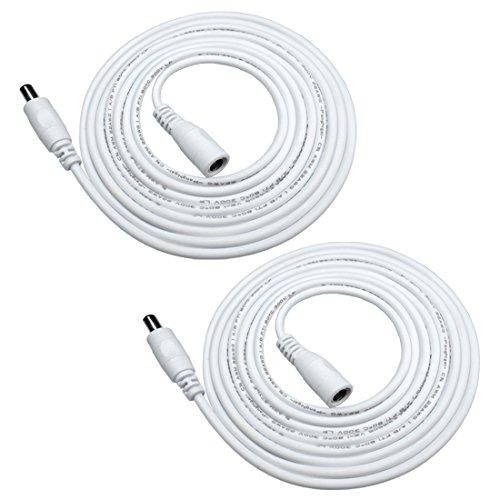 Verlängerungskabel 5.5 mm x 2.1 mm DC Anschlusskabel DC/Gleichstrom Verbinderkabel DC Verteiler Männlich zu Weiblich Verbinder für Netzteil, LED, CCTV-Kamera Power, Auto - Weiß ()