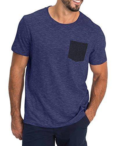 MODCHOK Herren T-Shirt Kurzarm Shirt Pockekt Tee Rundhals Ausschnitt Tops Regular Fit 1 Dunkelblau(mit Pocket) Medium -