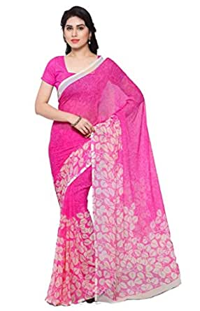 Vaamsi Chiffon Saree with Blouse Piece (Empress1016_Pink_One Size)