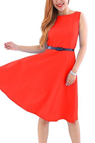 YMING Damen Midikleid Einfärbig Abendkleid Business Kleid Brautkleid,Rot,L / DE 40-42 (Crêpe-faltenrock)