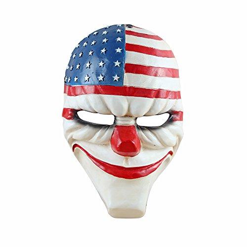 Lingcheng Payday 2 Gameplay-Maske, Halloween-Maske für Weihnachten/Cosplay-Party, Maskerade, Fechten, Kriegsspiel, Kostümspiel und mehr (PD2-Dallas) -