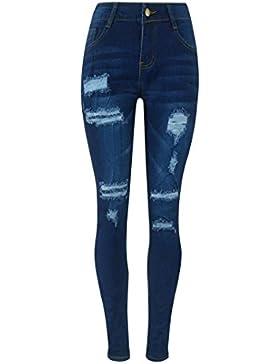 FAMILIZO Las Mujeres De Cintura Alta Elasticidad Azul Profundo Jeans Skinny Leggings Pantalones De Mezclilla