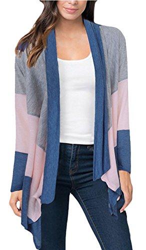 Liqy Women's Autumn Long Sleeved Cardigans Jacket Knitwear Striped Irregular Sweatshirt Thin Coat