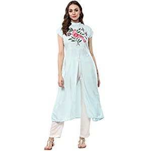 ZIYAA Women's Multicolor Color Printed Flared Crepe Kurta Best Online Shopping Store