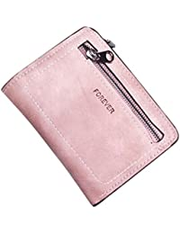 LHWY Mujeres De Color Solido Simple Cremallera Monedero Bolso Corto Billetera Card Holders