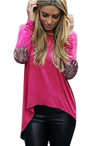 Qissy® Femme Casual Lâche Automne Col rond manches longues Épissure avec coudières T-Shirt Blouse Pullover Hauts Chemisier Rose
