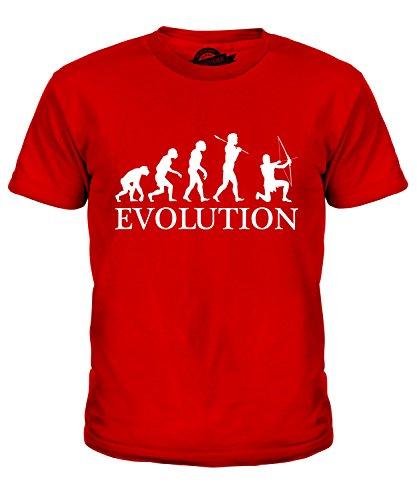CandyMix Bogenschießen Bogenschütze Evolution Des Menschen Unisex Jungen Mädchen T Shirt, Größe 6 Jahre, Farbe Rot