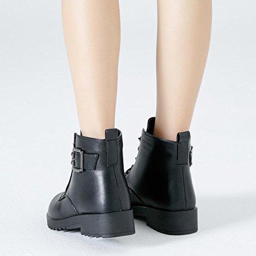 Femmina breve Martin stivali in pelle tacco basso piatto fibbia Warm casual lacci spessi peluche caviglia scarpe, RED-38 BLACK-35