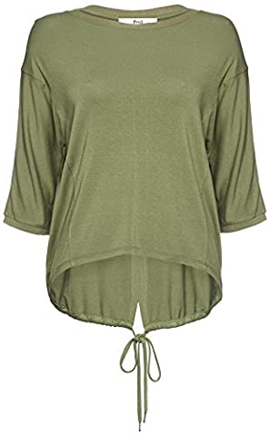 FIND Women's Drawstring Hem Long Sleeve Top, Green (Olive), Small